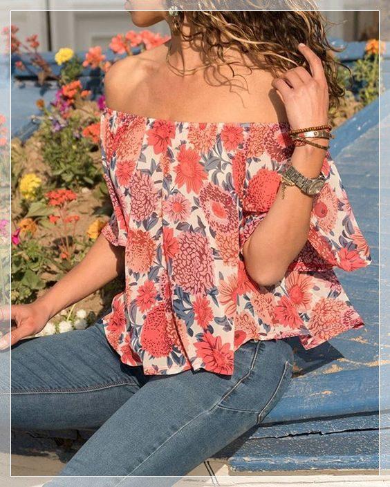 çiçek desenli omuz dekolteli bluz