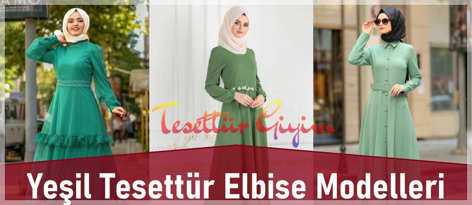 Yeşil Tesettür Elbise Modelleri 2020