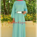 açık yeşil kemerli tesettür elbise