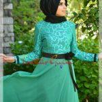 açık yeşil kuşaklı yeşil tesettür elbise