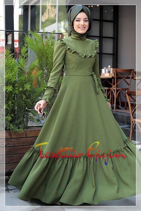 geniş etekli yeşil tesettür elbise