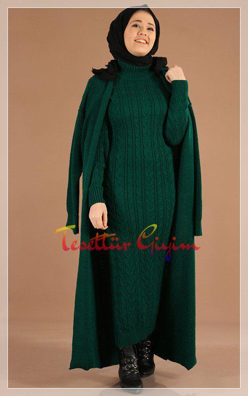 kilolular için triko yeşil tesettür elbise