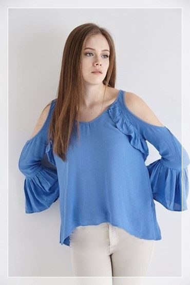 mavi omuz dekolteli bluz