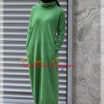 spor düz yeşil tesettür elbise