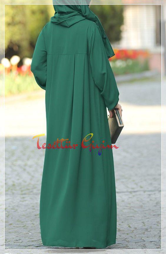 uzun düz yeşil tesettür elbise