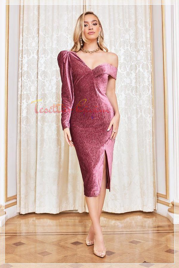 çok tarz pembe kadife elbise