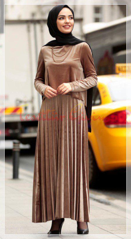 açık kahverengi tesettür elbise