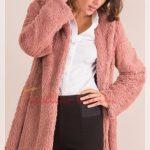açık pembe kürklü ceket modeli