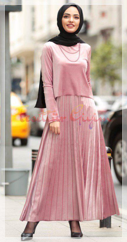 açık pembe kadife elbise modeli