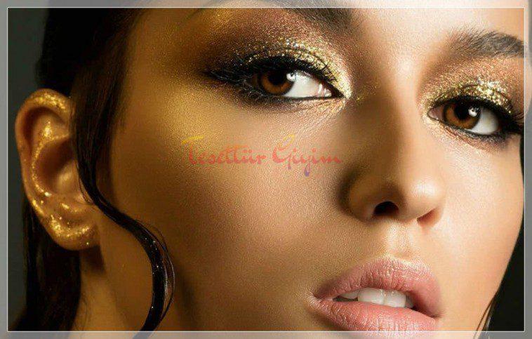 abartılı glitter makyaj