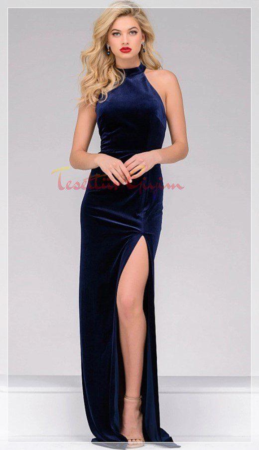 bacak dekolteli kadife elbise modeli