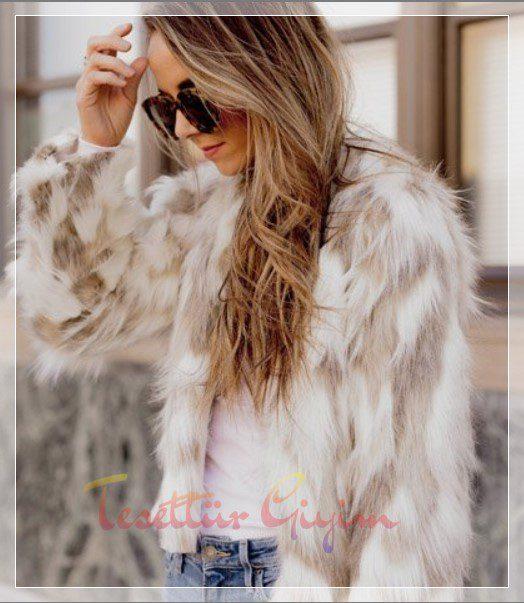 bej şık Kürklü Ceket