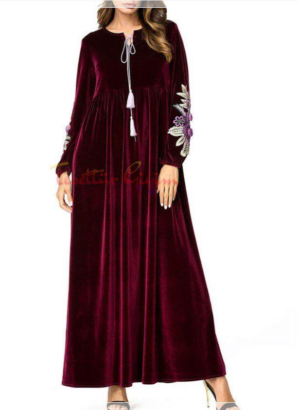 bordo uzun kadife elbise modeli