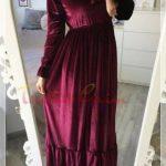 burgundi velvet hijab dress