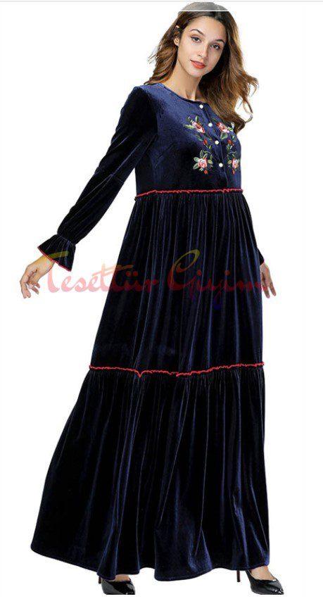 etnik desen tesettür kadife elbise