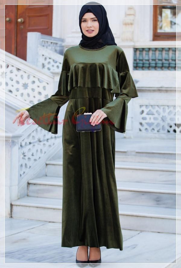 fıstık yeşili Kadife Tesettür Elbise Modelleri