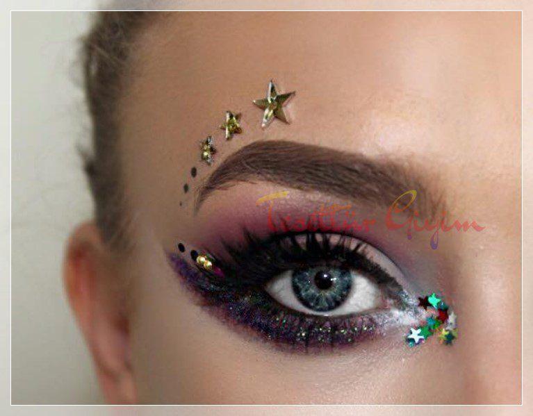 festival glitter makyaj örneği