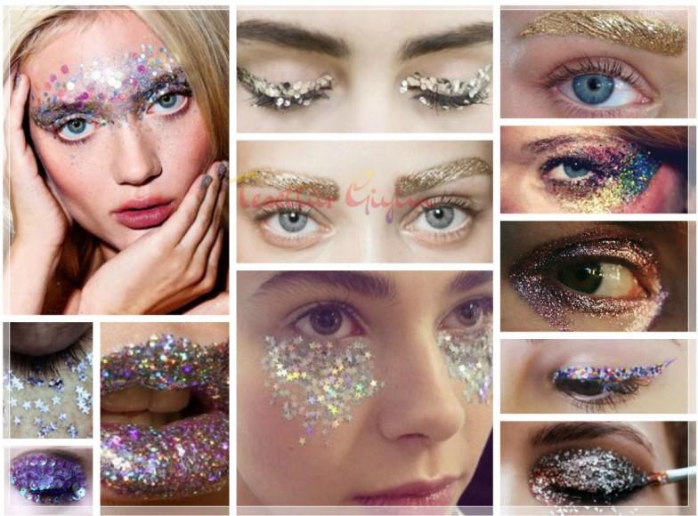 glitter makyaj çeşitleri ve görselleri