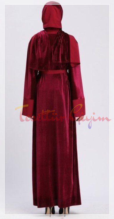kırmızı kadife elbise 2020