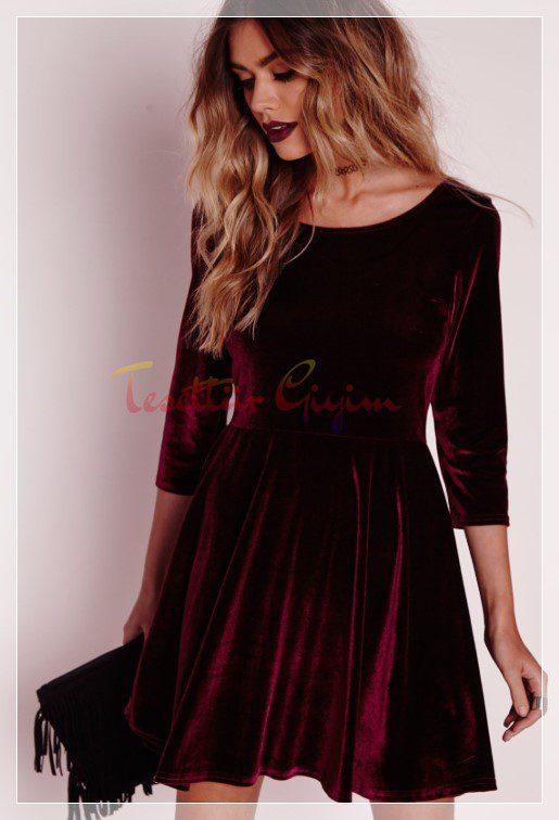 kırmızı kadife elbise