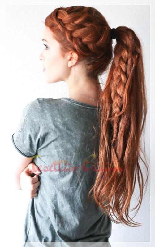 kızı çiftl örgülü at kuyruğu modeli