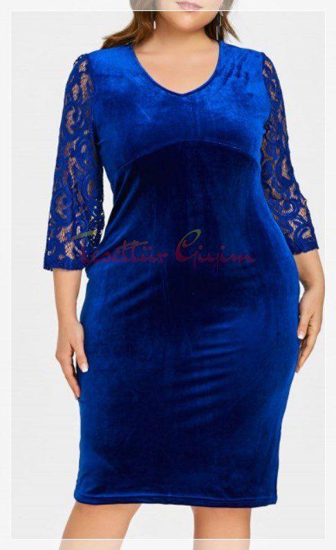 kilolular için mavi kadife elbise