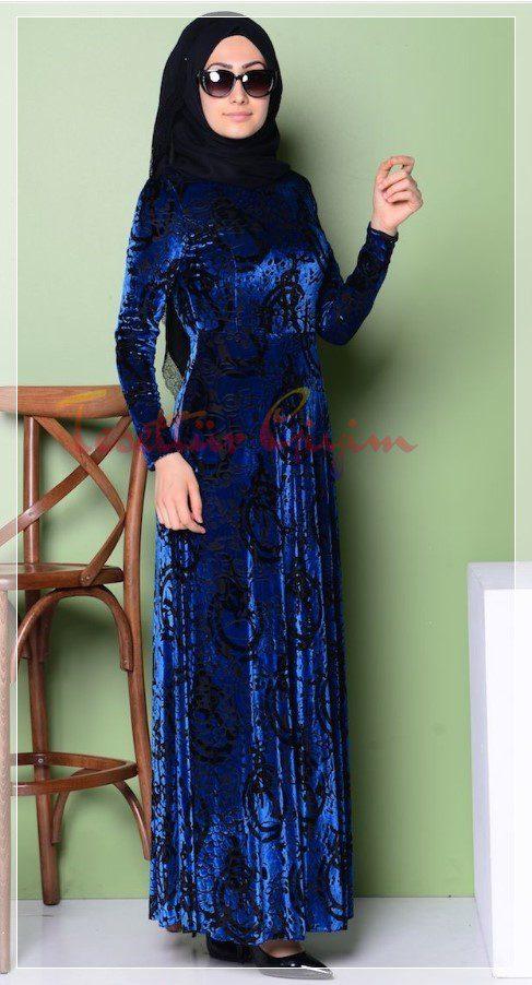koyu mavi tesettür kadife elbise