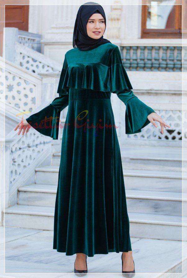 koyu yeşil Kadife Tesettür Elbise Modelleri