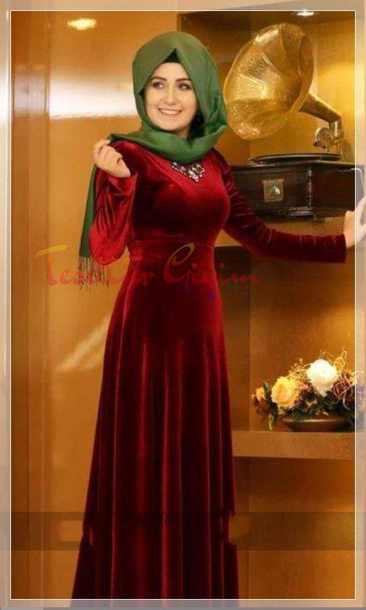 pınar şems kadife tesettür elbise