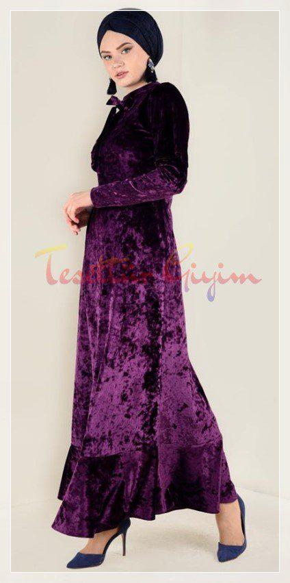 parlak mod tesettür kadife elbise