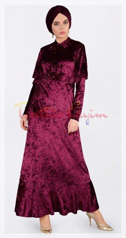 parlak tesettür kadife elbise modeli