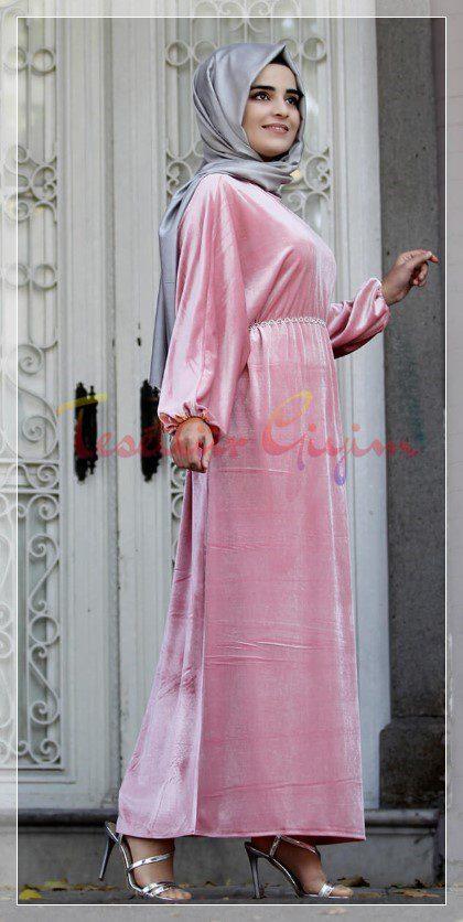 pembe kadife elbise modelleri