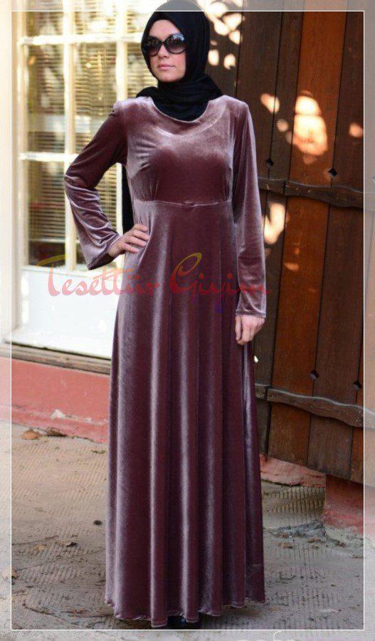 pileli tesettür kadife elbise