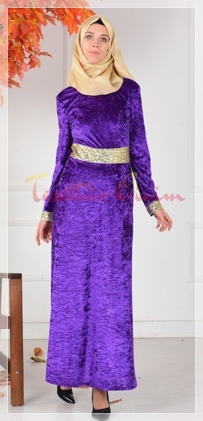 purple velvet hijab dress
