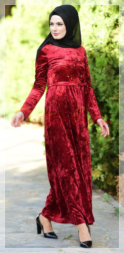 red pearl hijab velvet dress