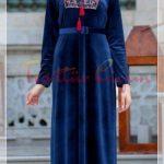 saks mavisi işlemeli tesettür kadife elbise