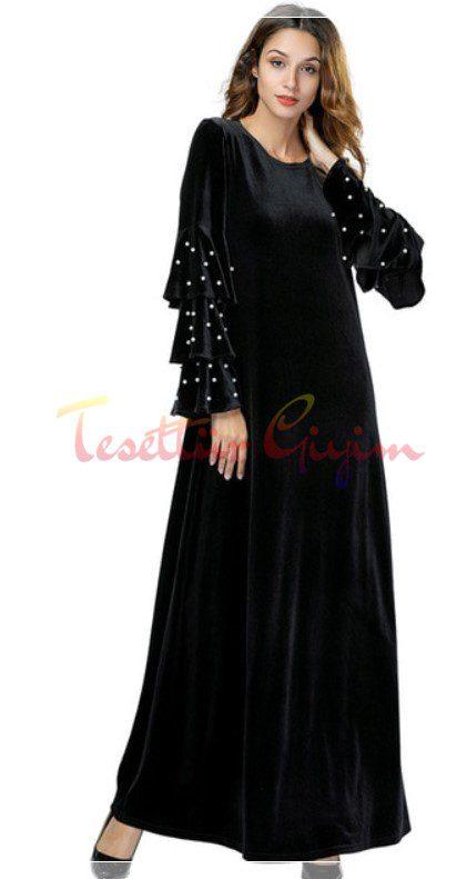 siyah kolu incli tesettür kadife elbise