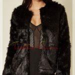 siyah tüylü Kürklü Ceket modeli