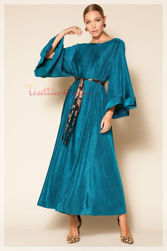 turkuaz kadife gece elbisesi