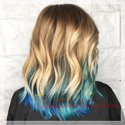 uçları mavi ombre modelleri