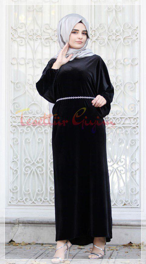 uzun siyah tesettür elbise