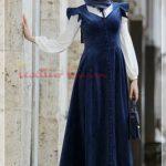 vintage model tesettür kadife elbise modeli
