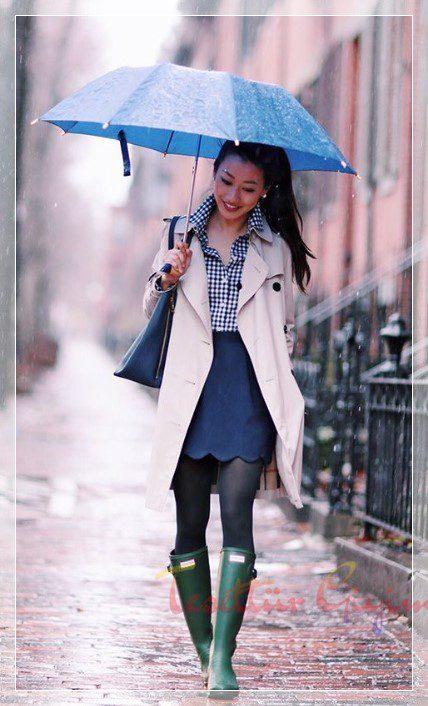 yağmurlu havalar için sade kombin