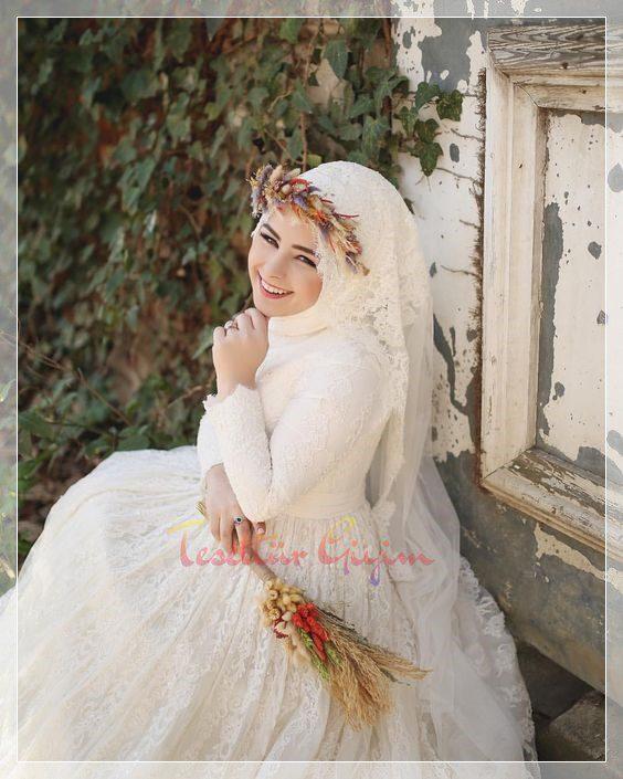 yaza özel tesettür prenses gelinlik