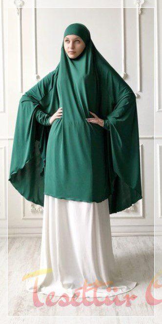 yeşil beyaz cilbab modeli