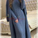 örgü motifli tesettür triko elbise modeli