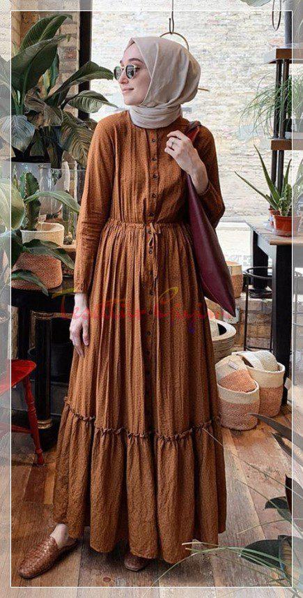 Baharlık tesettür elbise kombini