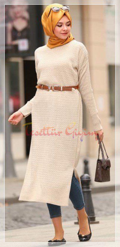 beyaz sade tesettür triko elbise