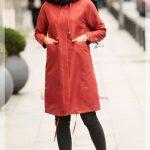 bordo kışlık tesettür elbise modeli