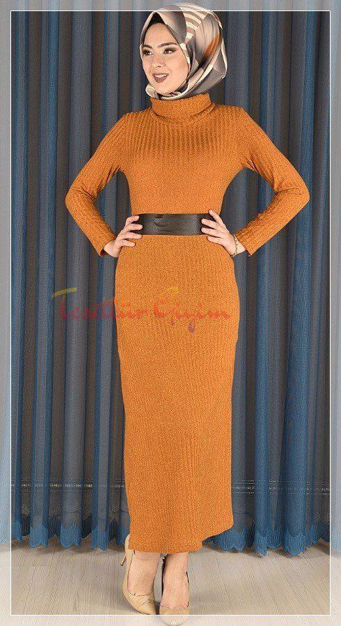 farklı renk tesettür triko elbise